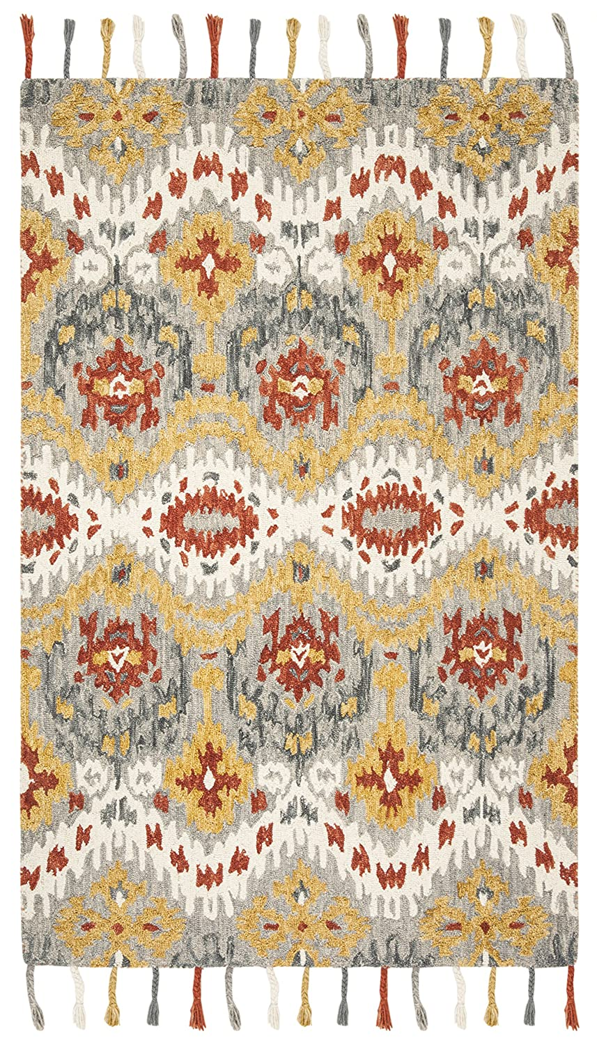 Safavieh Suzani Collection SZN202A Hand-Hooked Grey and Gold Wool Area Rug 3 x 5