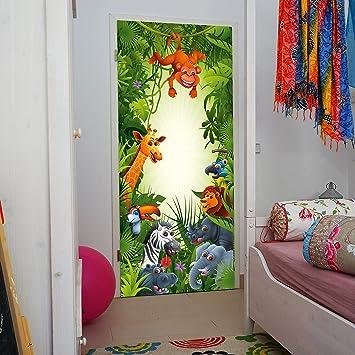 Livingdecoration Turtapete Kinderzimmer 86 X 200 Cm Tiere Safari Dschungel Kinder Kids Junge Madchen Elefant Tapete