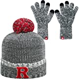 Top of the World Rutgers Scarlet Knights Official NCAA Combo Frostbite Cuffed Stocking Stretch Knit Sock Hat Cap Beanie and Gloves 559834