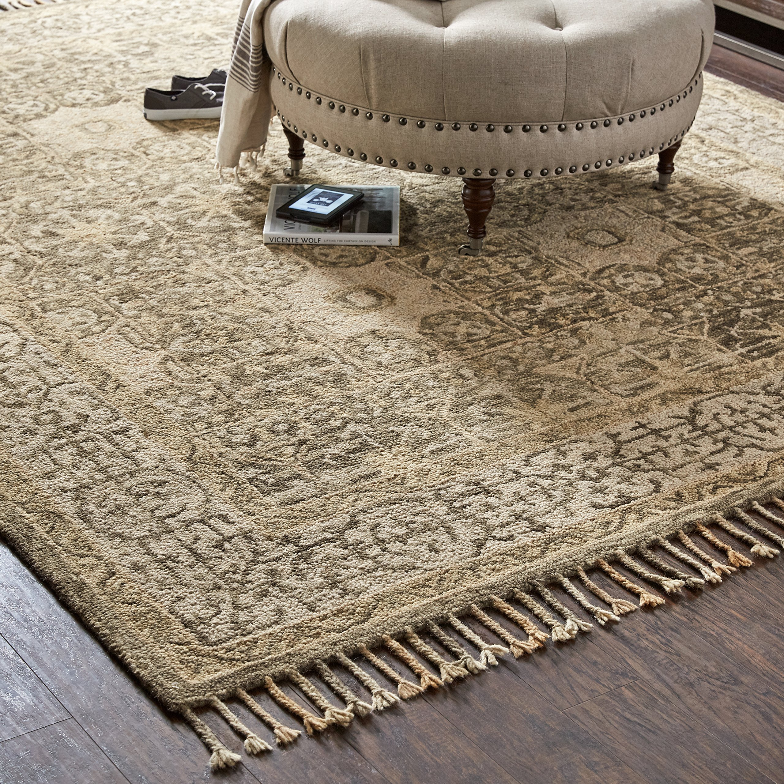 Stone & Beam Kelsea Transitional Wool Area Rug, 8' x 10', Beige and Grey by Stone & Beam (Image #3)