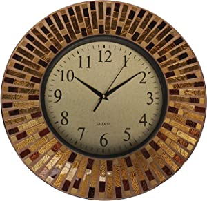 "Lulu Decor, 16"" Amber Rays Mosaic Wall Clock with 9.5"" Glass Dial, Silent Movement for Living Room & Office Space (LP84)"