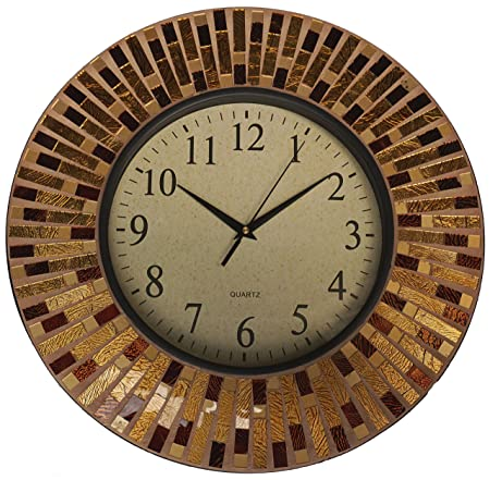 Lulu Decor, 16 Amber Rays Mosaic Wall Clock with 9.5 Glass Dial, Silent Movement for Living Room Office Space LP84