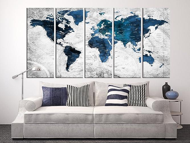 Amazon Com Blue World Map Art Print Framed Push Pin World Map