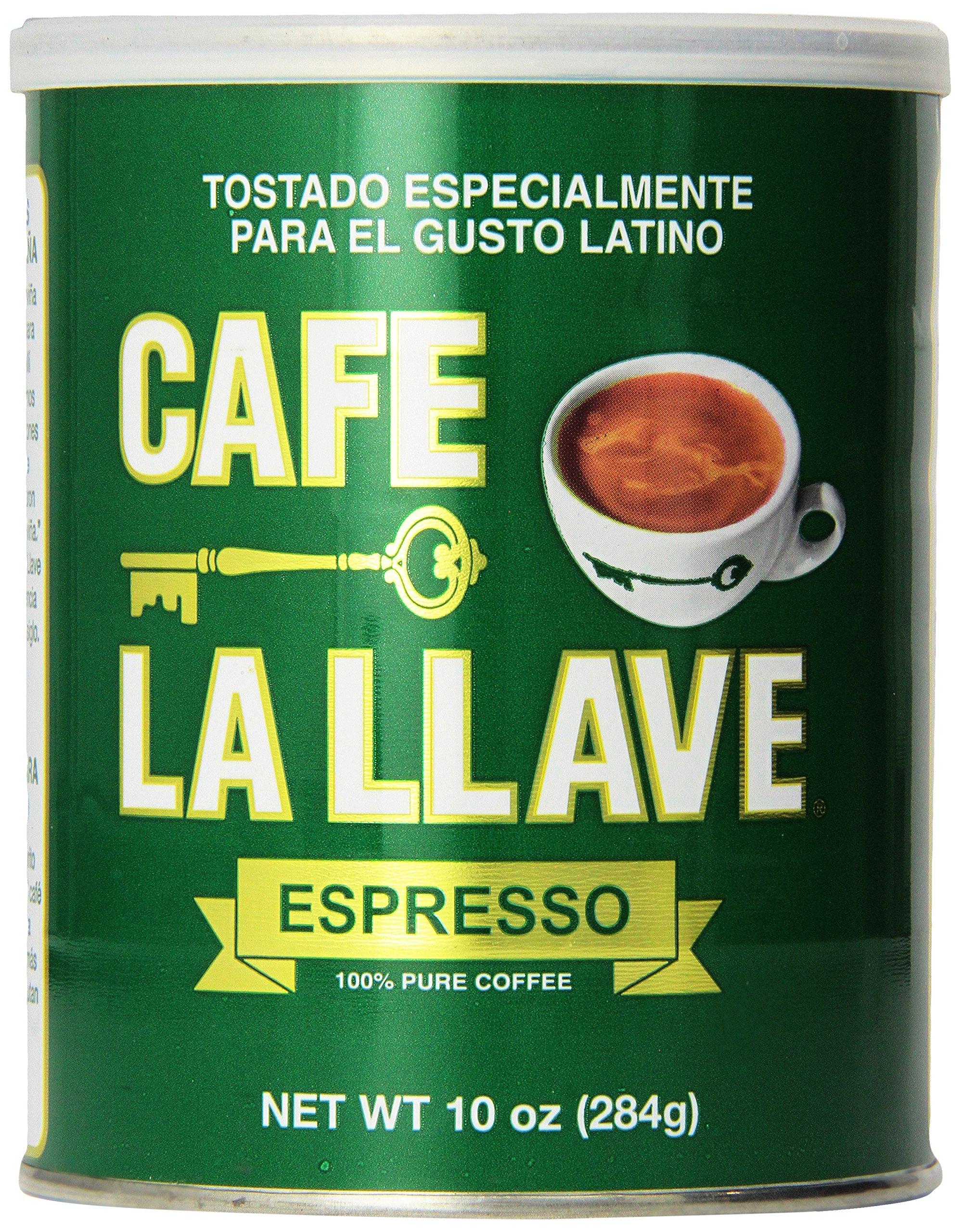 Café La Llave Espresso, 100% Pure Coffee, Latin Espresso, Dark Roast, Finely Ground, 10-Ounce Can
