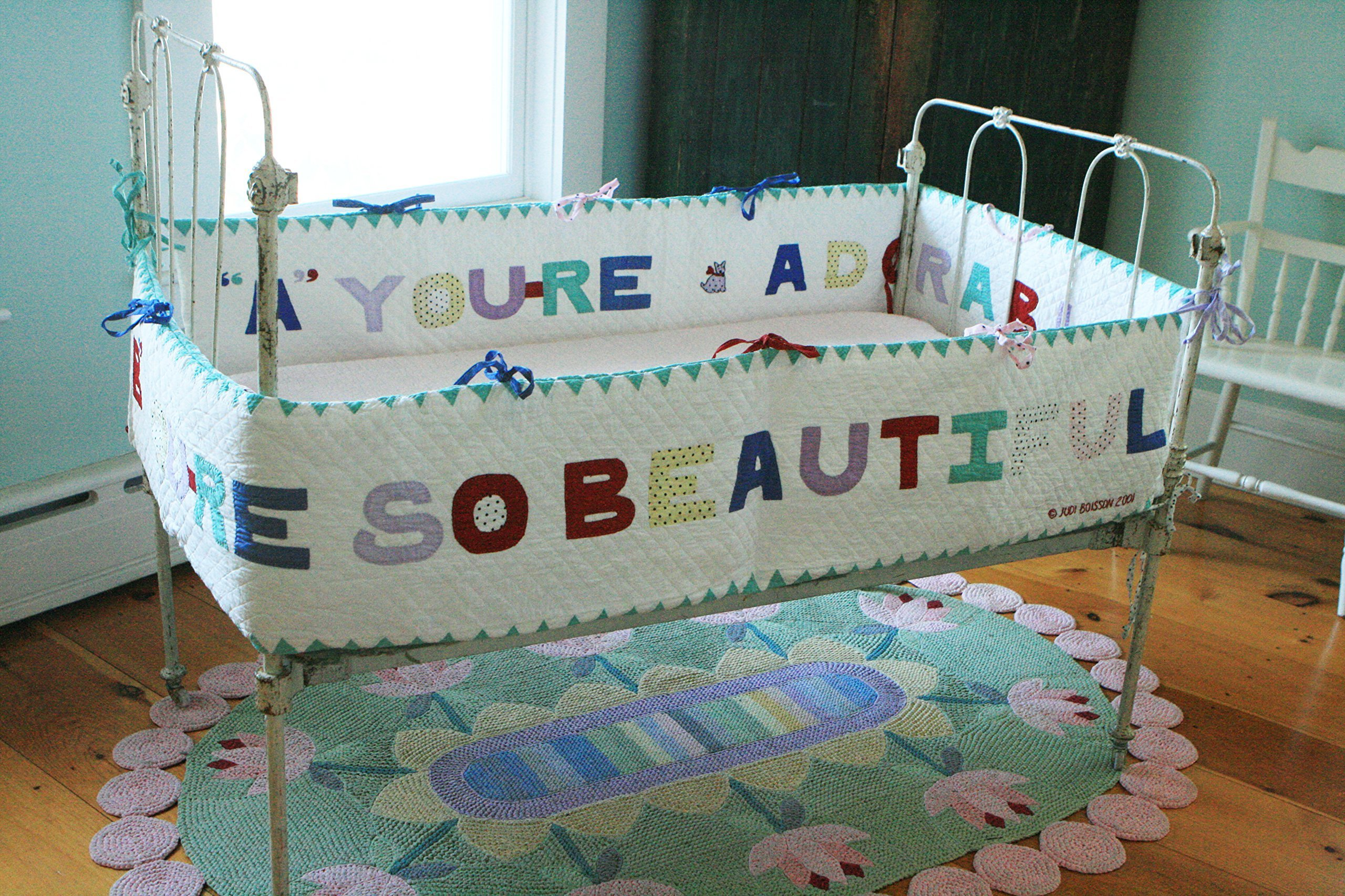 Designed by Judi Boisson. ''A'' You're Adorable'' ''B'' You're so Beautiful ! Colorful Letters on a White Background. Reversible. Cotton.