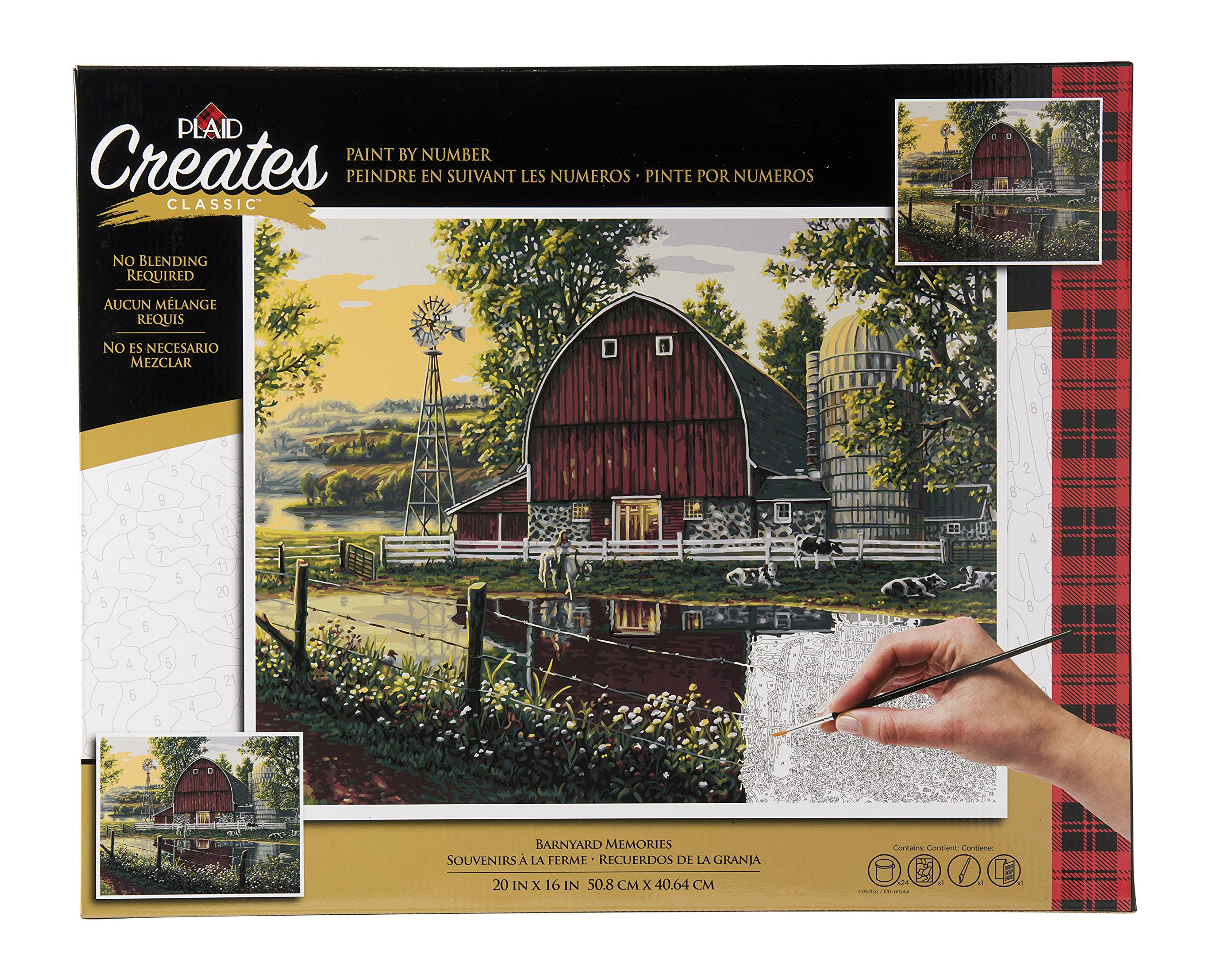 Plaid Creates Paint by Number Kit (16 by 20-inch), 60163 Barnyard Memories