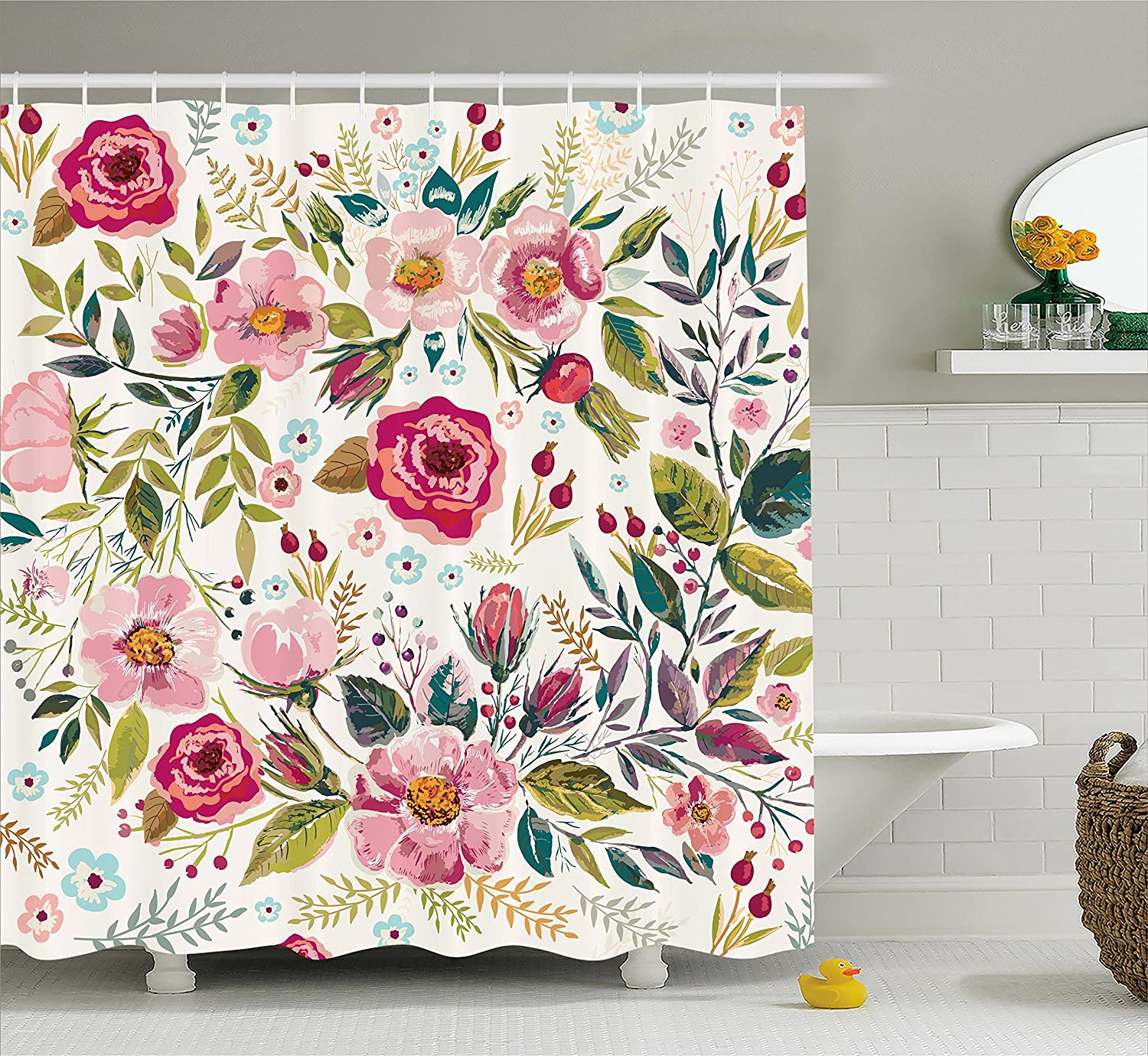 Ambesonne Floral Shower Curtain by, Shabby Chic Flowers Roses Pedals Dots Leaves Buds Spring Season Theme Image Artwork, Fabric Bathroom Decor Set with Hooks, 70 Inches, Multicolor