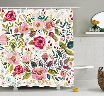 Floral Shower Curtain By Ambesonne, Shabby Chic Flowers Roses Pedals Dots  Leaves Buds Spring Season