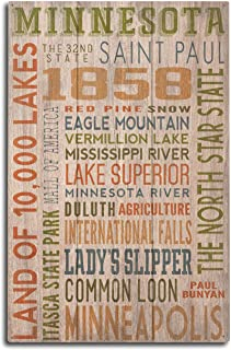 product image for Lantern Press Minnesota - Rustic Typography (10x15 Wood Wall Sign, Wall Decor Ready to Hang)