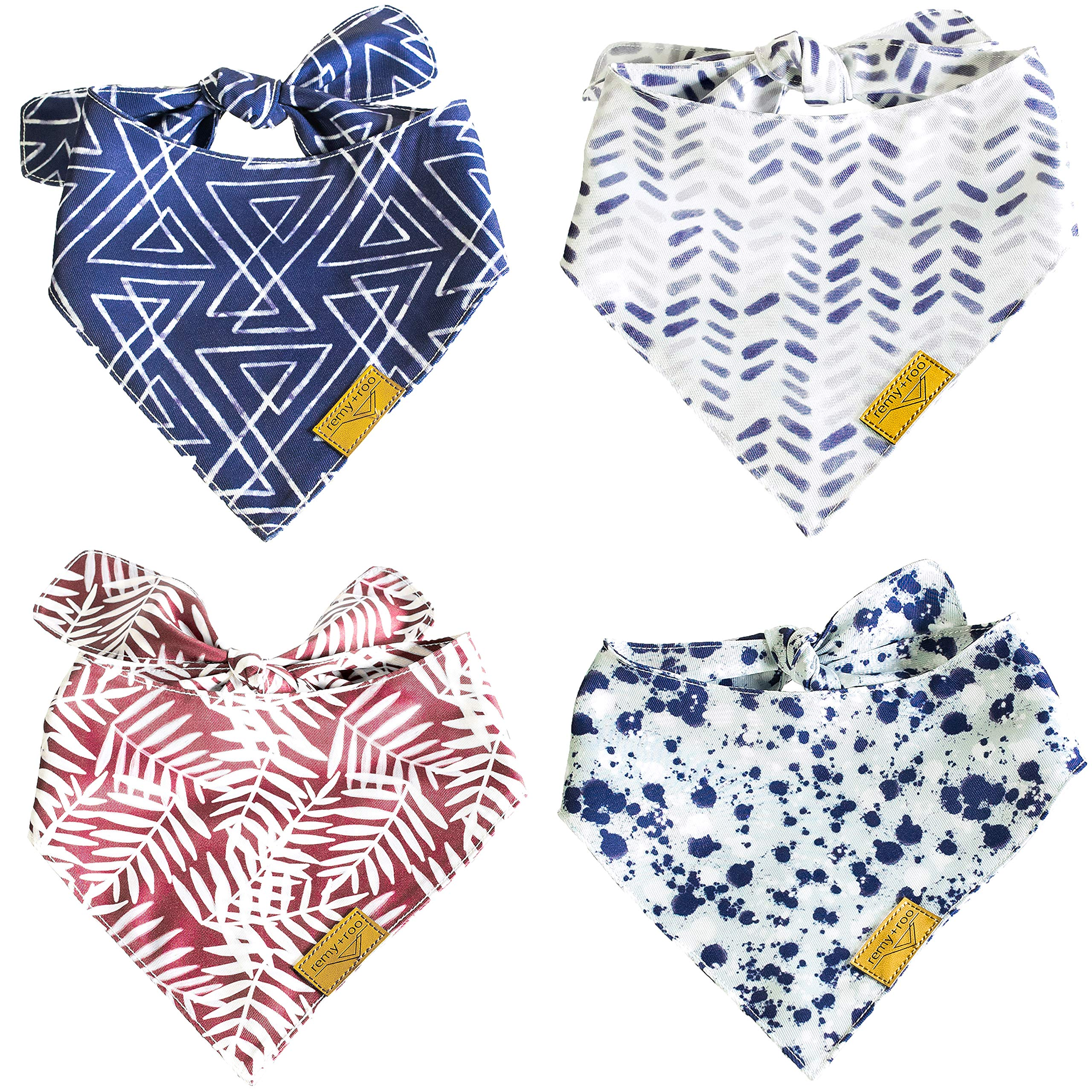 Remy+Roo Dog Bandanas - 4 Pack Premium Durable Fabric, Unique Adjustable Design,The Classic, (Small)