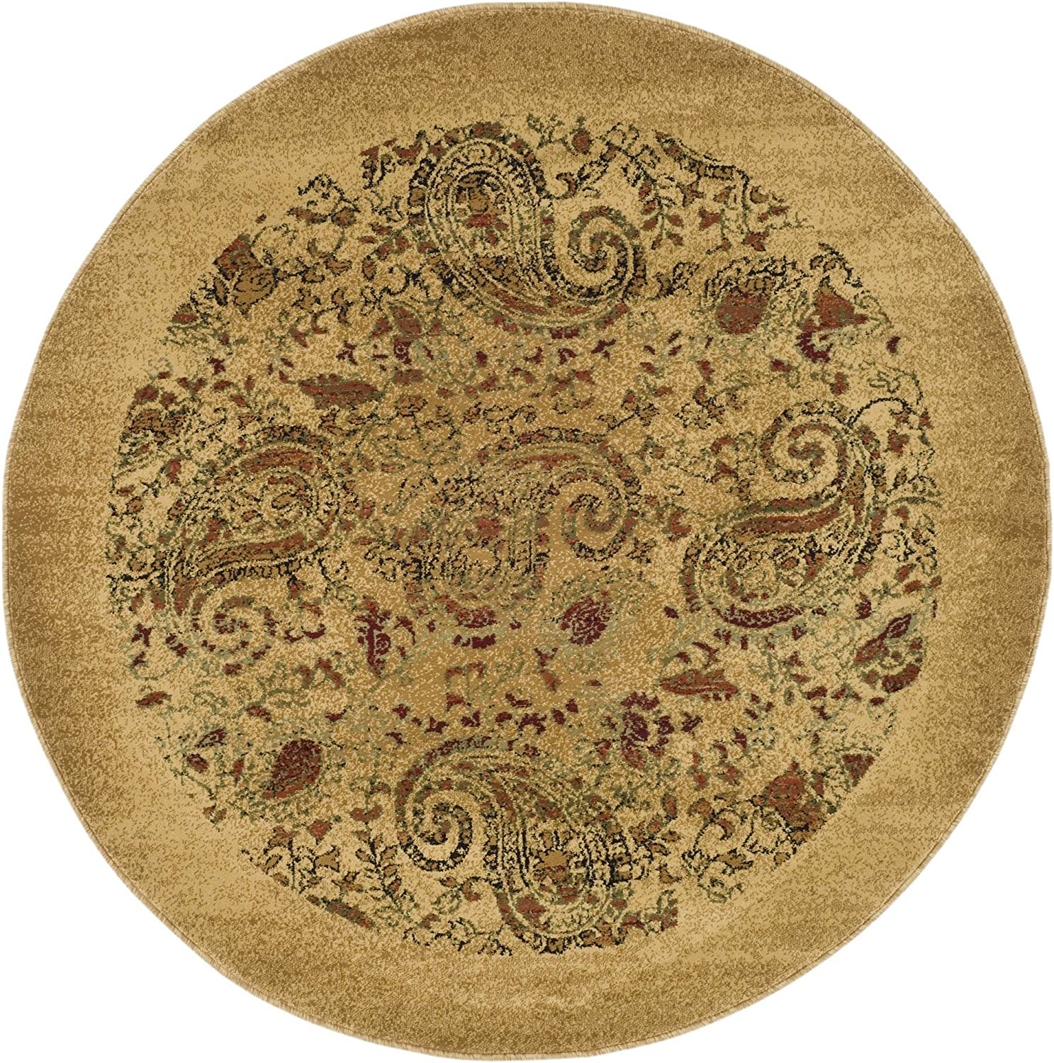 Safavieh Lyndhurst Collection LNH224A Traditional Paisley Beige and Multi Round Area Rug (8' Diameter)