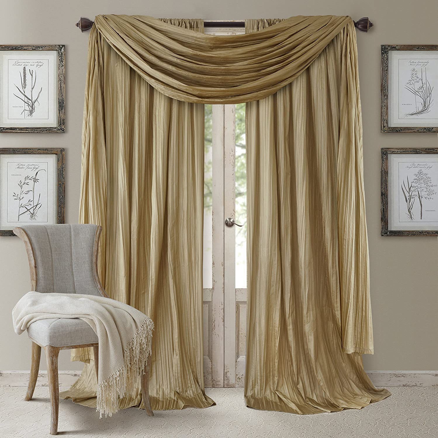 "Elrene Home Fashions Venice Curtain Panels with Scarf Valance - Set of 3 - Panel 52"" W x 108"" L, Scarf 52"" W x 216"" L, Gold (2 panels - 1 scarf)"