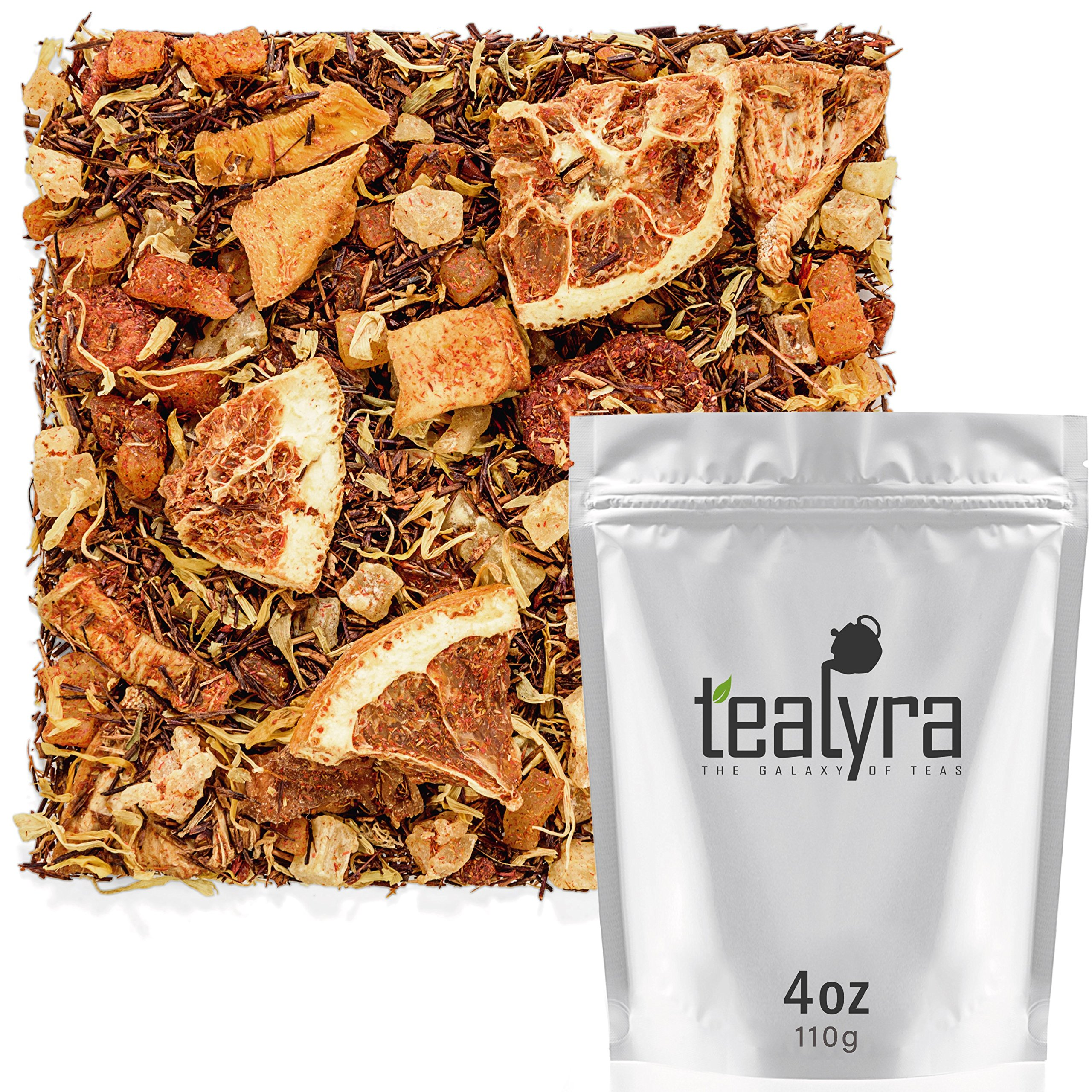 Tealyra - Mango 'n Friends - Rooibos Fruity Herbal Loose Leaf Tea Blend - Red Bush - Pineapple - Orange - Strawberry - Caffeine-Free - Vitamines Rich - Hot and Iced - 110g (4-ounce) by Tealyra