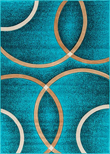 Well Woven Circo Turquoise Blue Modern Geometric Rings Circles Lines Hand Carved Modern Area Rug 5 x 7 5 3 x 7 3 Easy to Clean Stain Fade Resistant Contemporary Thick Soft Plush