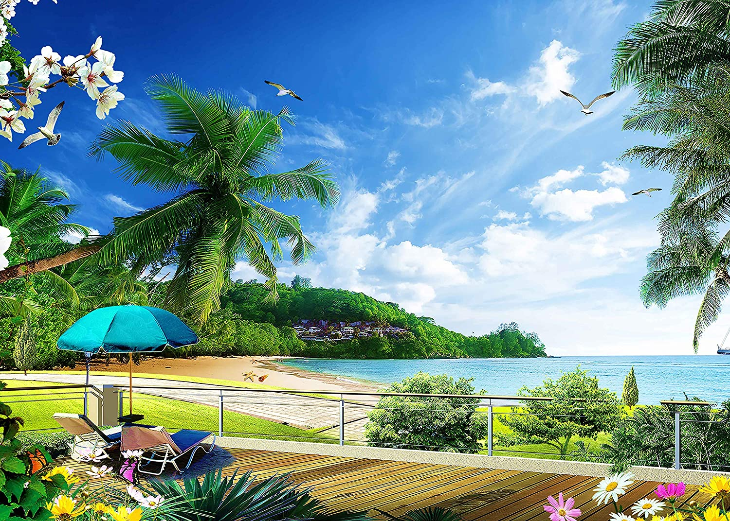 7x5ft Seaside Backdrop Beach Party Photography Background Natural Scenery Summer Holiday Photo Shoot Props YouTube Backdrop LSVV191