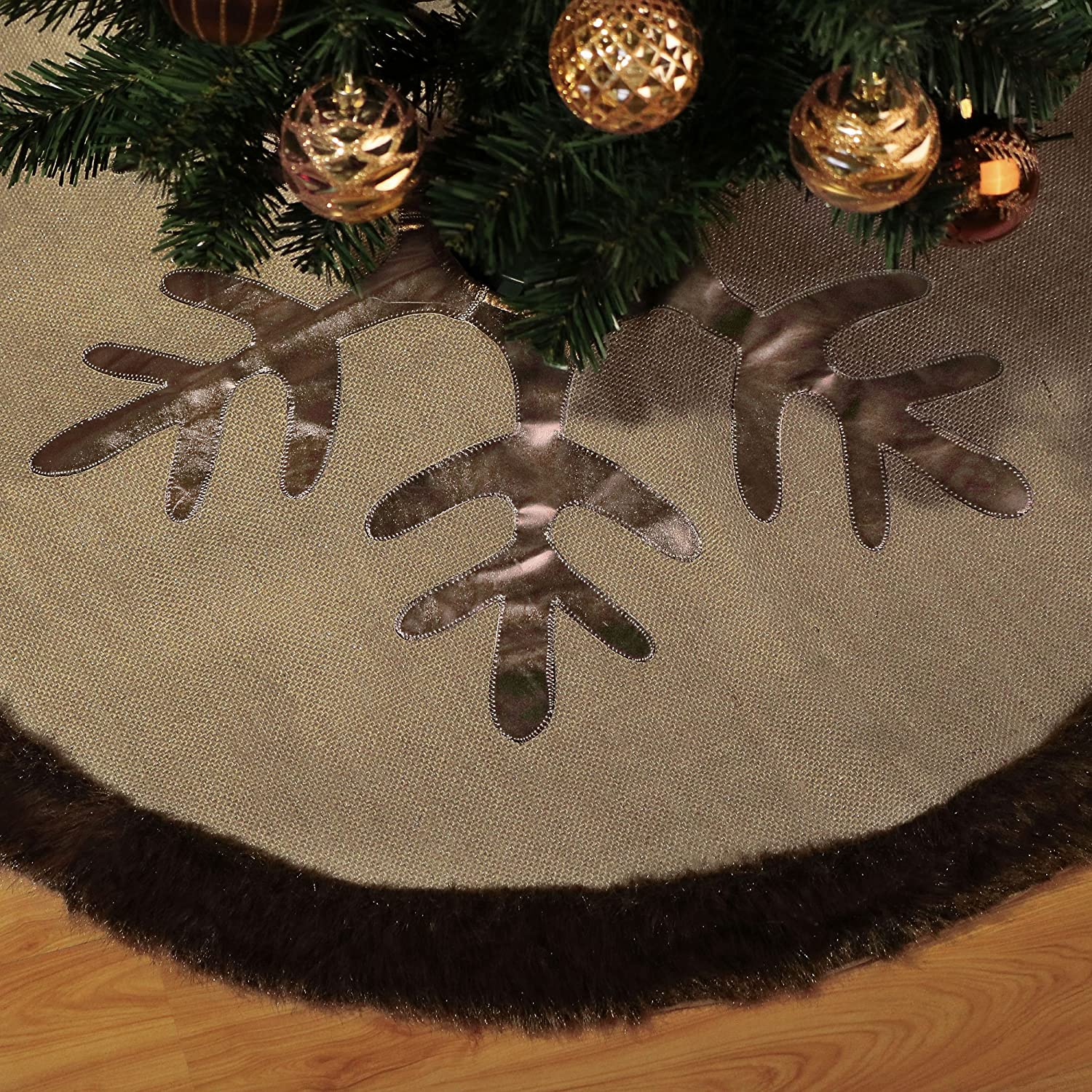 Valery Madelyn Woodland Collection Burlap Christmas Tree Skirt With Faux