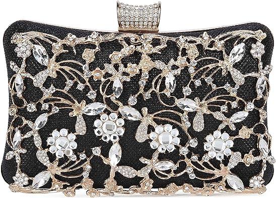 Ladies Glitter Evening Clutch Women Wedding Party Prom Handbag Purse Chain Bag