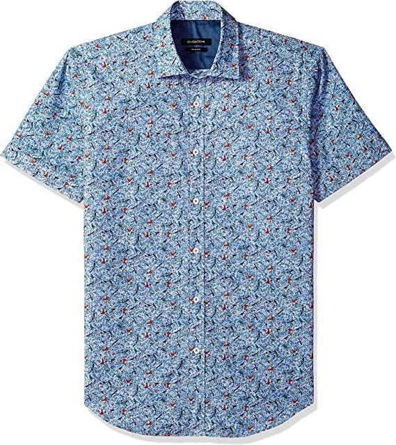 Bugatchi Mens Shaped Printed Symbol Spread Collar Short Sleeve Shirt