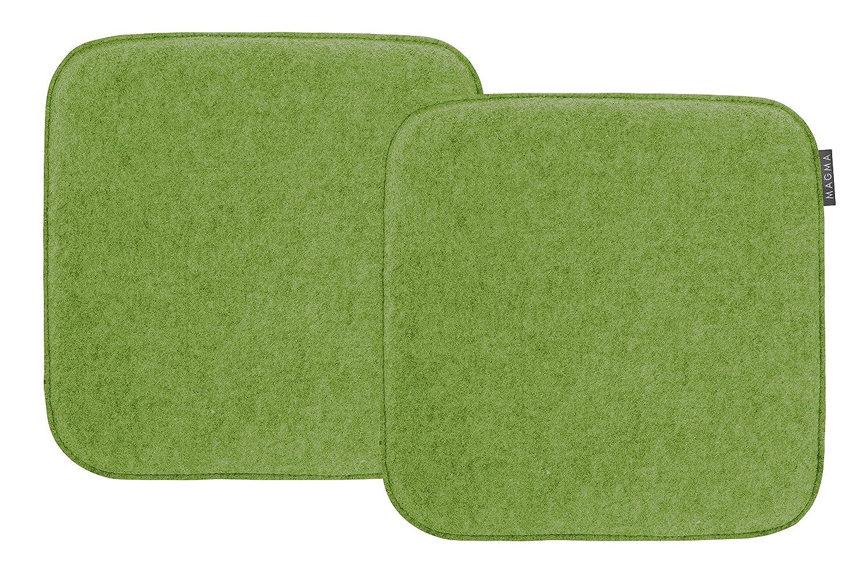 Magma-Heimtex AVARO, set di 2 cuscini quadrati per sedie, in finto feltro, circa 35 x 35 cm, di colore verde Magma Heimtex