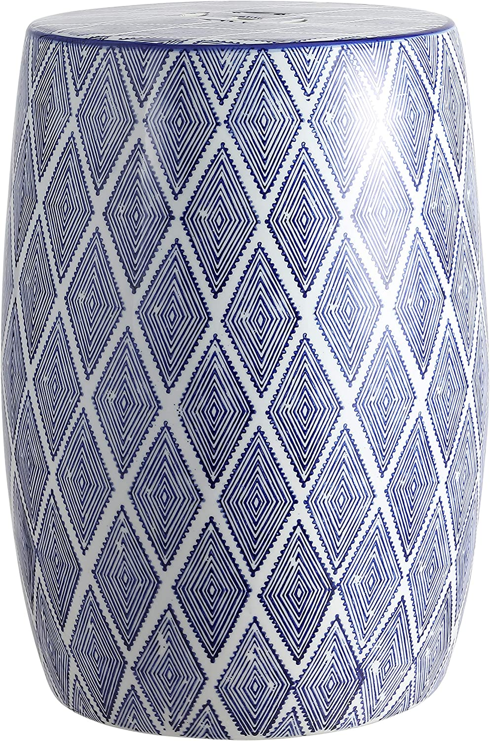 "Jonathan Y TBL1019A Moroccan Diamonds 18"" Ceramic Drum Garden Stool, Blue/White"