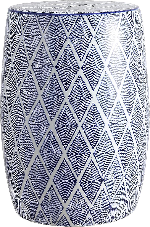 "Jonathan Y TBL1019A Moroccan Diamonds 18"" Ceramic Drum Garden Stool, Blue/White"
