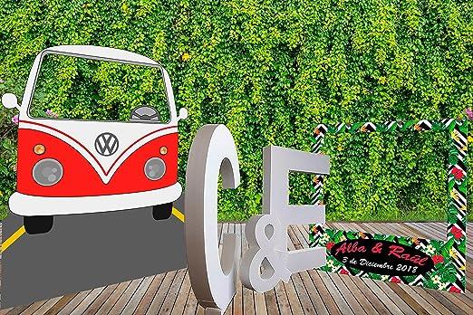 Oedim Pack Photocall Letras de Corcho Porexpan 100x 10cm de Grosor | Photocall Furgo Hippy Roja 119x150cm | Photocall Estampado Tropical Personalizado 100x100cm ...