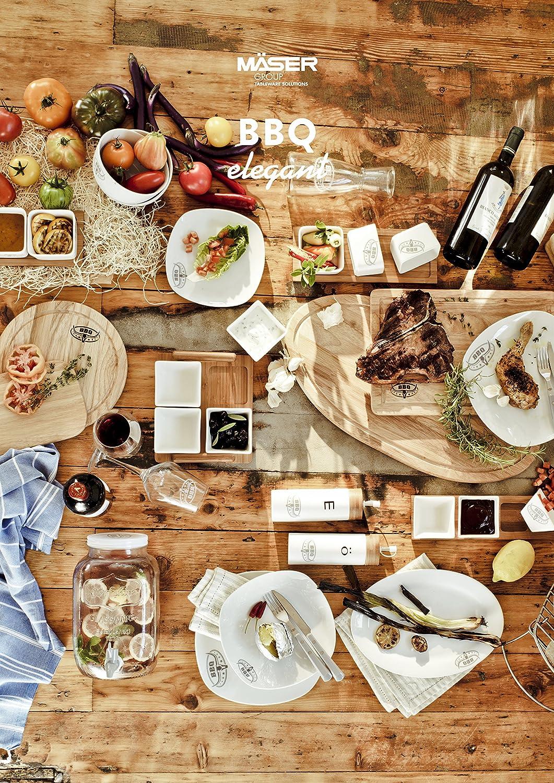 Serie BBQ Elegant Beilagenset 4-teilig Bambusbrettchen und vier eckige Porzellansch/älchen M/äser