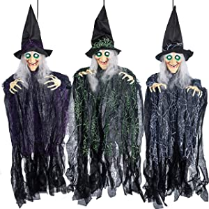 "35.3"" Halloween Hanging Wicked Witch Decoration (3 Packs), Halloween Hanging Witch Prop Decor for Lawn, Outdoor and Indoor decorations"