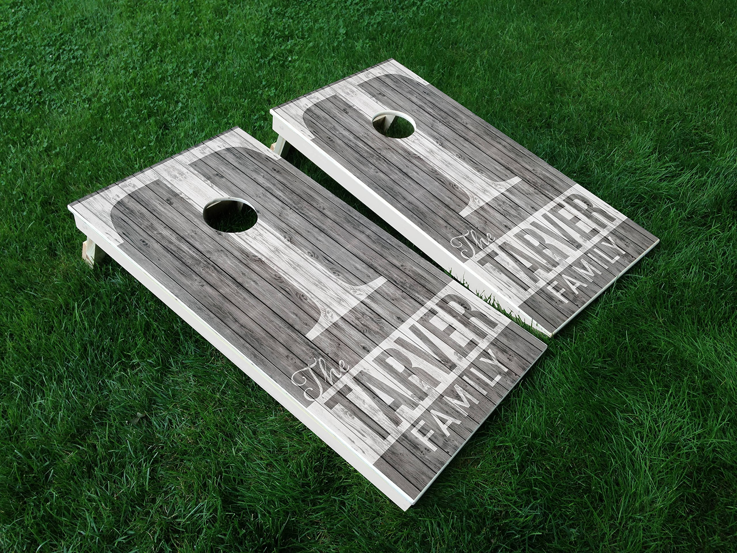 DISTRESSED Custom Wedding Set Wedding Day Marriage Last Name Couple CORNHOLE WRAP SET Vinyl Board DECAL Baggo Bag Toss Boards MADE IN the USA by IAWOAVinyl