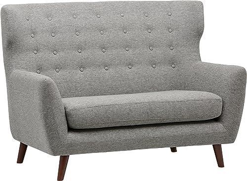 Rivet Hawthorne Mid-Century Tufted Modern Loveseat Settee Sofa, 57 W, Silver