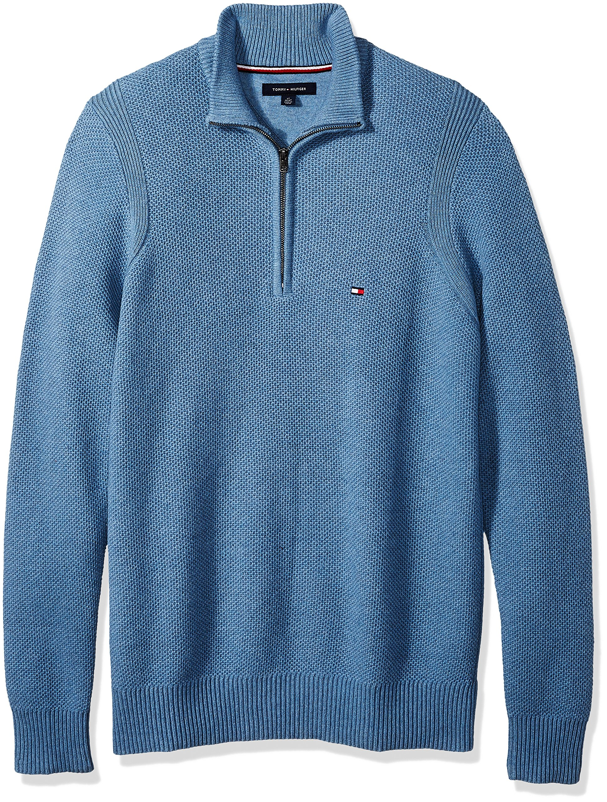Tommy Hilfiger Men's Big and Tall 1/4 Zip Pullover Sweater, Medium Chambray Heather, TL-3XL