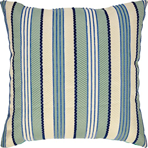 Amazon Brand Rivet Casual Outdoor Striped Throw Pillow – 17 x 17 Inch, Aqua