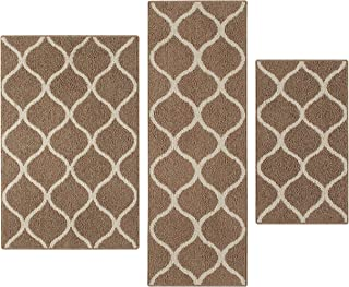 product image for Maples Rugs Kitchen Rug Set - Rebecca [3pc Set] Non Kid Accent Throw Rugs Runner [Made in USA] for Entryway and Bedroom, Café Brown/White