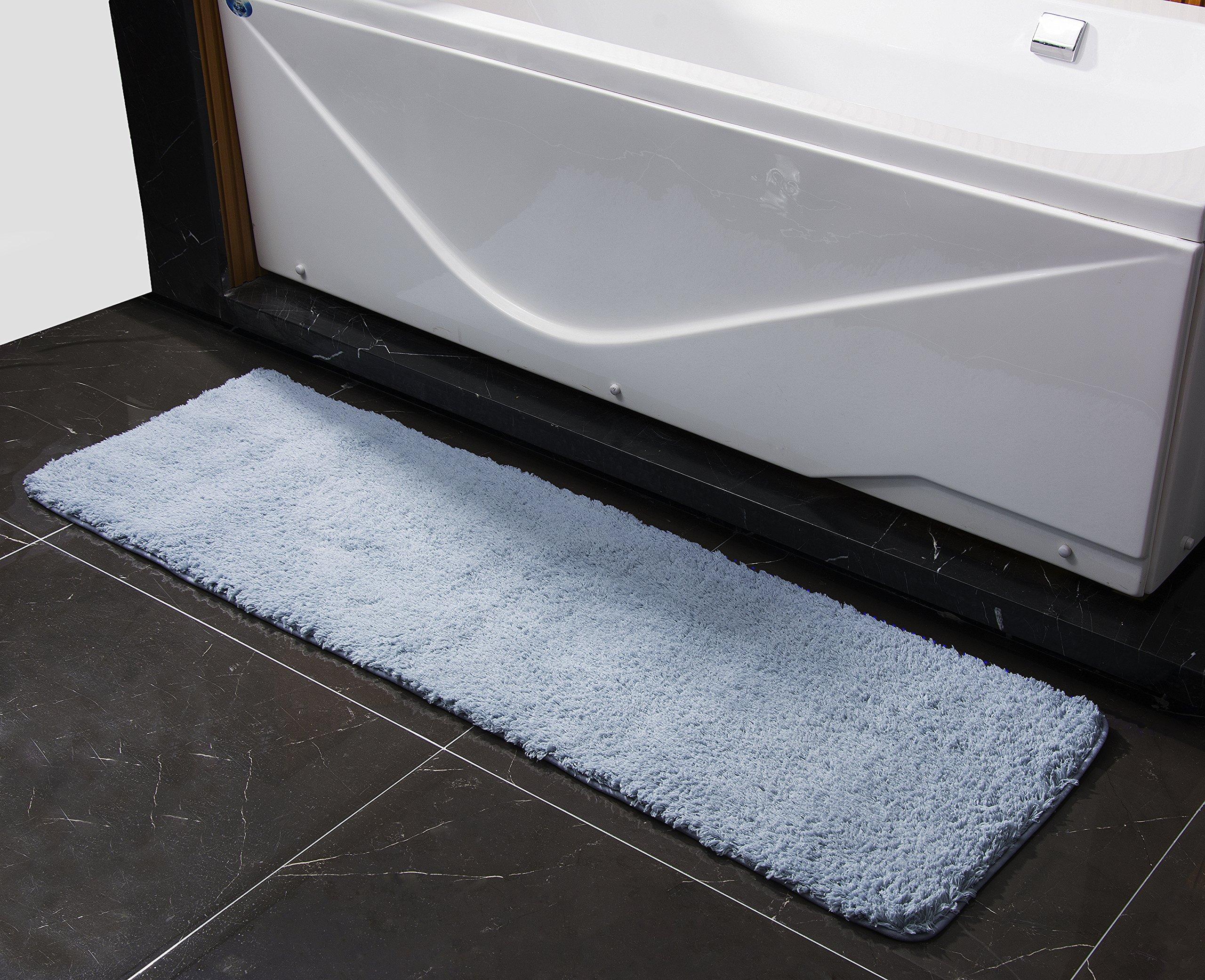 Adam Soft Microfiber Non-slip Antibacterial Rubber Luxury Bath Mat Rug 20''X63'' Blue