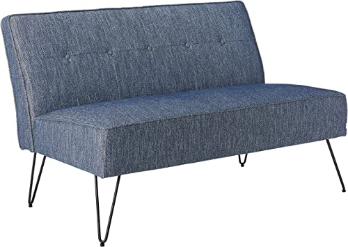 Christopher Knight Home Simona Modern Fabric Settee with Hair Pin Legs, Blue, Texture