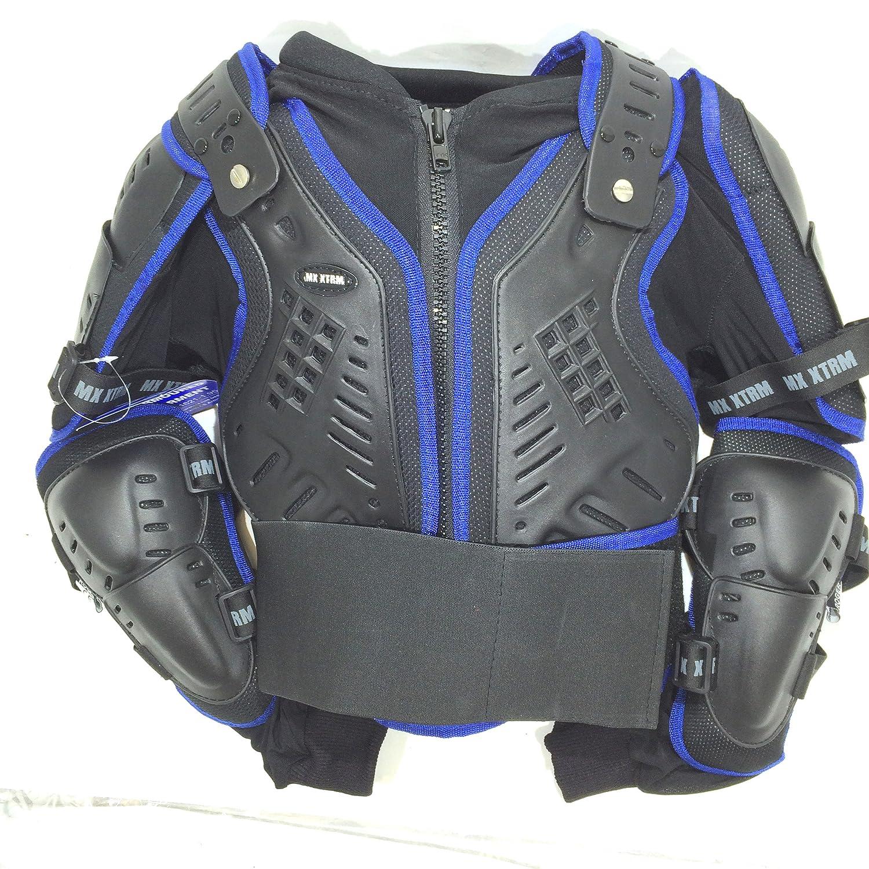 Bambini Moto Giacca Pettorina Corazza Moto da Corsa Armatura Giacca di sicurezza MX Quad Scooter Approvato CE Blu (6 Years/ S) Riderwear xtrm-kid
