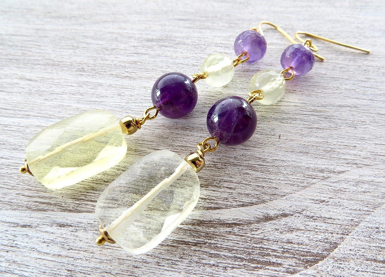 Pendientes de cuarzo amarillo y amatista viola, pendientes colgantes, pendientes de piedras semi preciosas, joyas para mujer, joyas boda