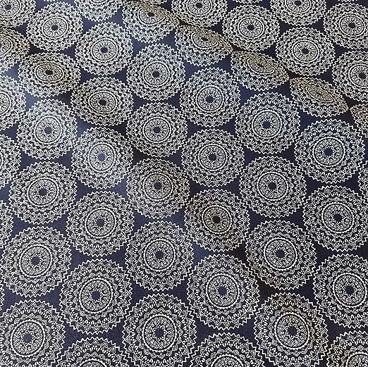 Werthers Stoffe Tela Tela de algodón Metro Indigo Blanco Oscuro Azul Mandala vehlo Tela Tela Decorativa: Amazon.es: Juguetes y juegos