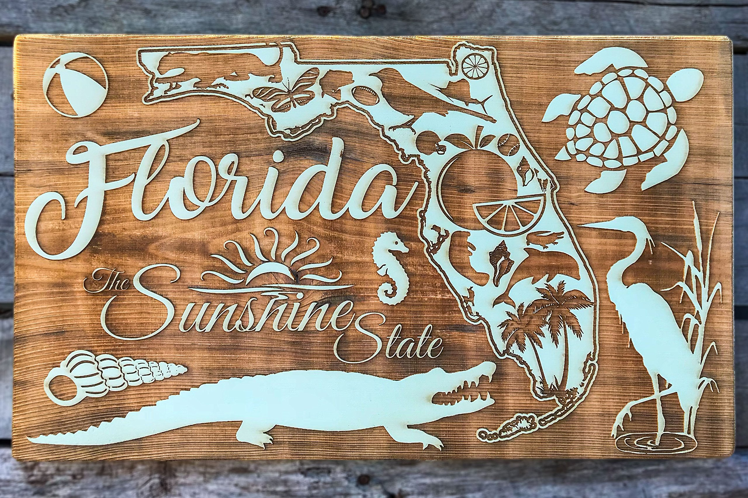 State of Florida Abstract wood engraved map