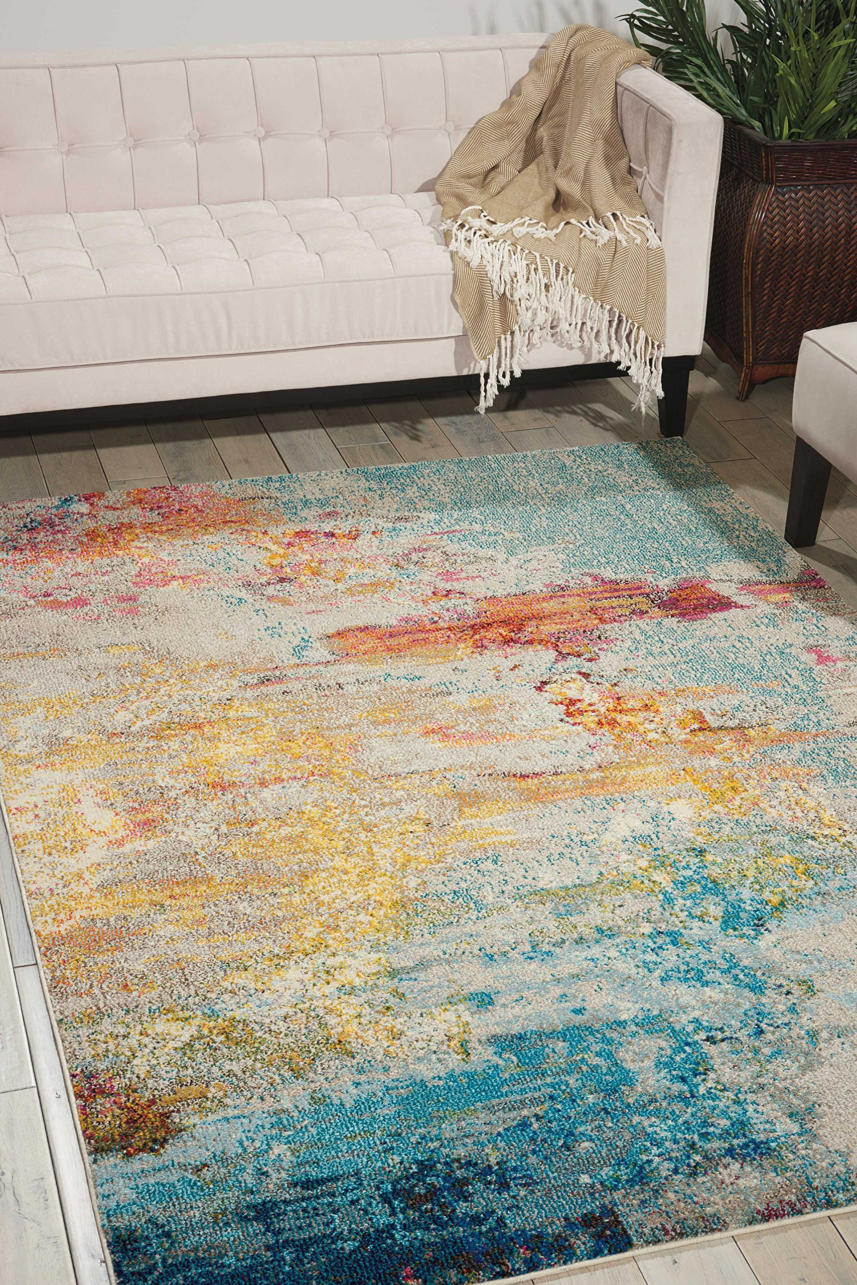 Nourison Celestial (CES02) Modern Watercolor Area Rug, 5'3'' x 7'3'', Multicolor Sealife by Nourison