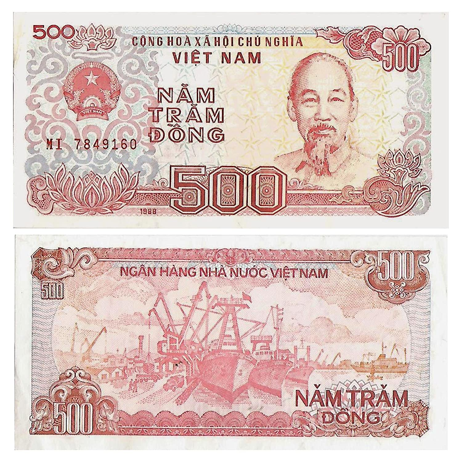 Banconote da collezione di Vietnam / 500 Dong croccante banconota uncirculated / Genuine Carta Moneta . Bank of Vietnam