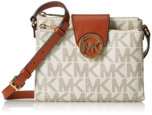 michael kors fulton brown large crossbody bag 32f3gftc3b vanilla rh static amazon com