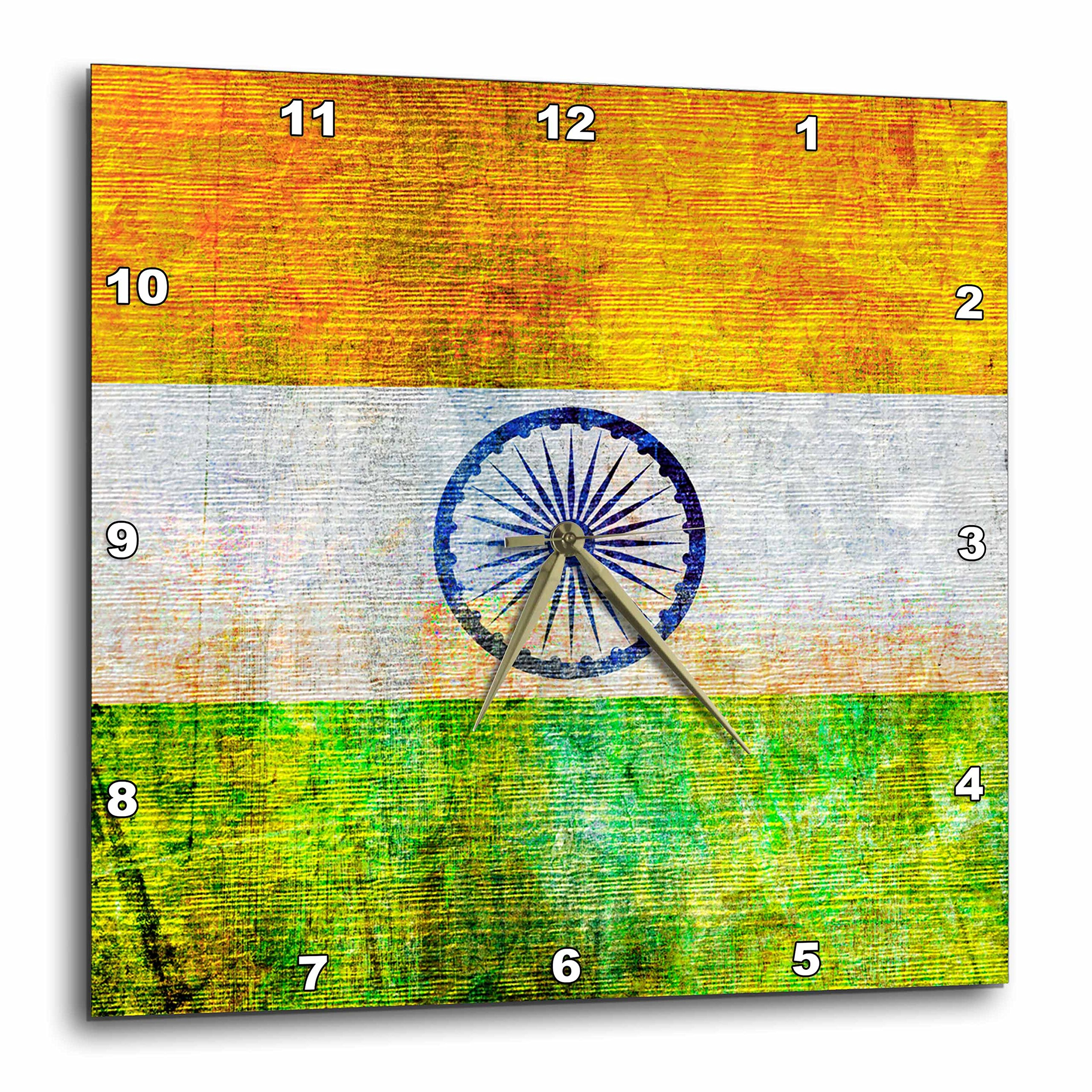 3dRose Distressed Style Grunge Flag of India Wall Clock, 15'' x 15''
