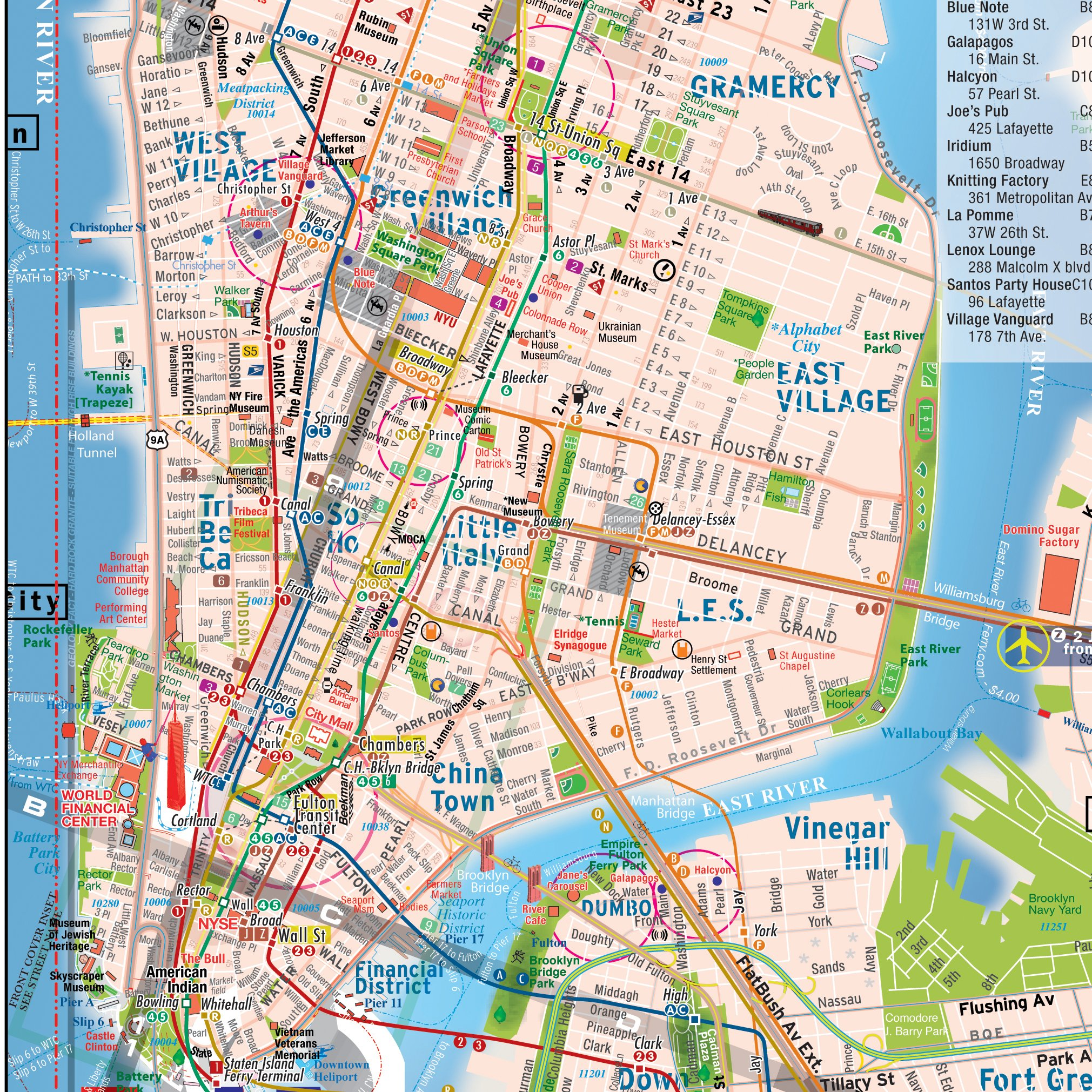 Subway Map New York Manhatten.Terramaps Nyc Manhattan Street And Subway Map Waterproof Pocket