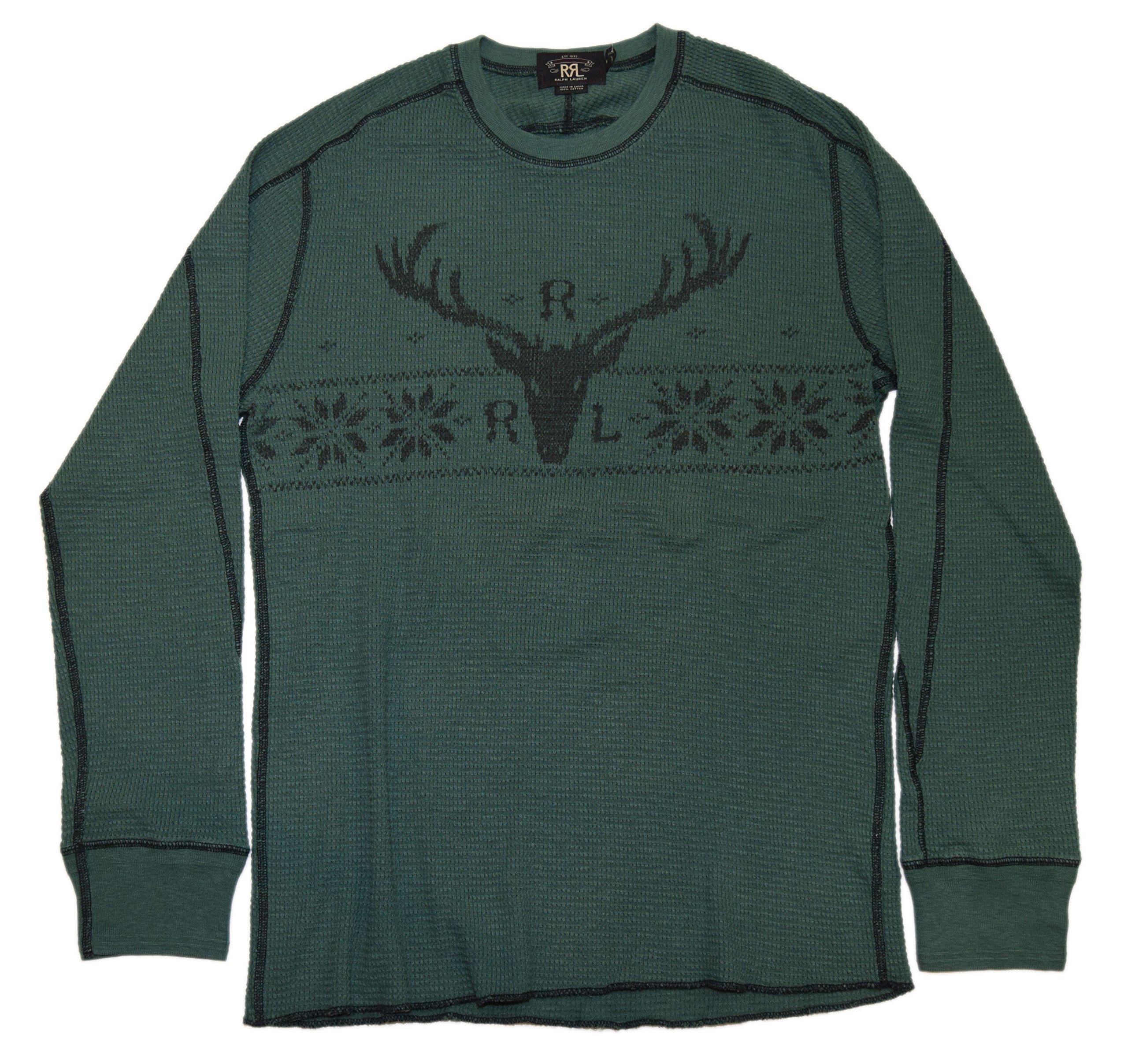 Ralph Lauren Double RL RRL Men Hunting Deer Thermal Sweatshirt Shirt Green Large