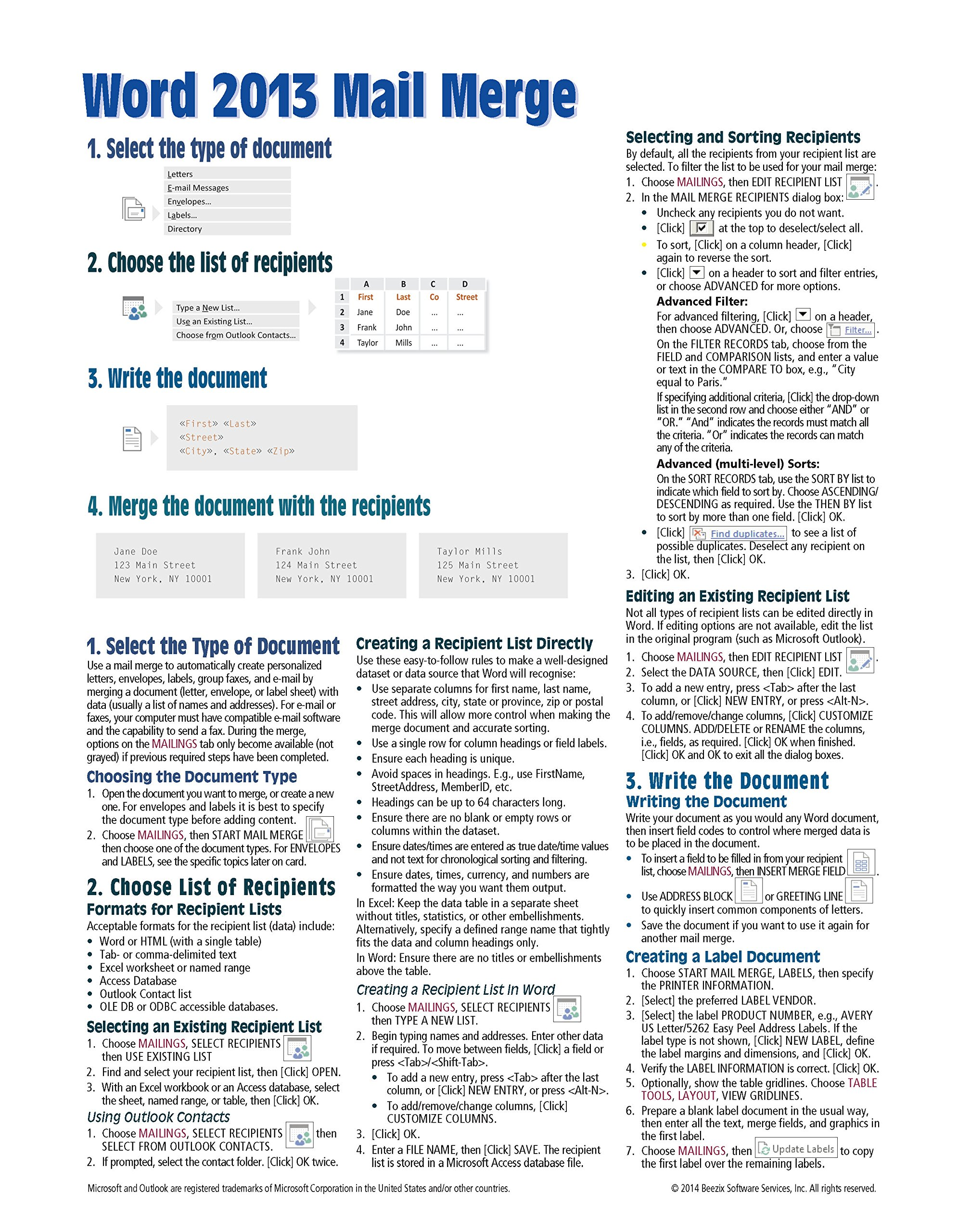 Microsoft Word 2013 Mail Merge Quick Reference Guide (Cheat Sheet of Instructions, Tips & Shortcuts - Laminated Card)