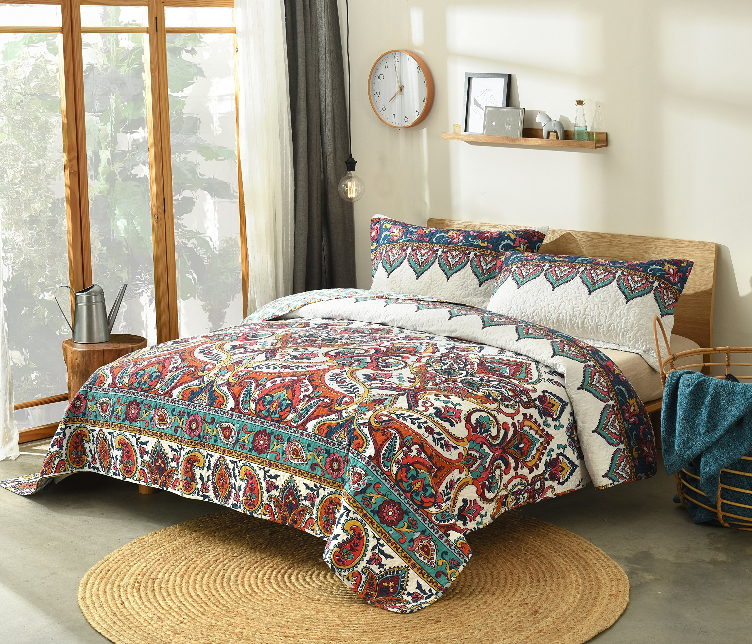 DaDa Bedding Bohemian Paisley Bedspread - Earthy Meadow Quilted Coverlet Set - Multi-Colorful Floral Print - Full - 3-Pieces