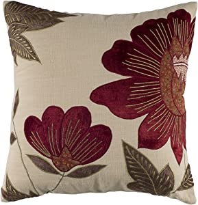 "Rizzy Home T04013 Decorative Pillow, 18""X18"", Red/Neutral/Green"