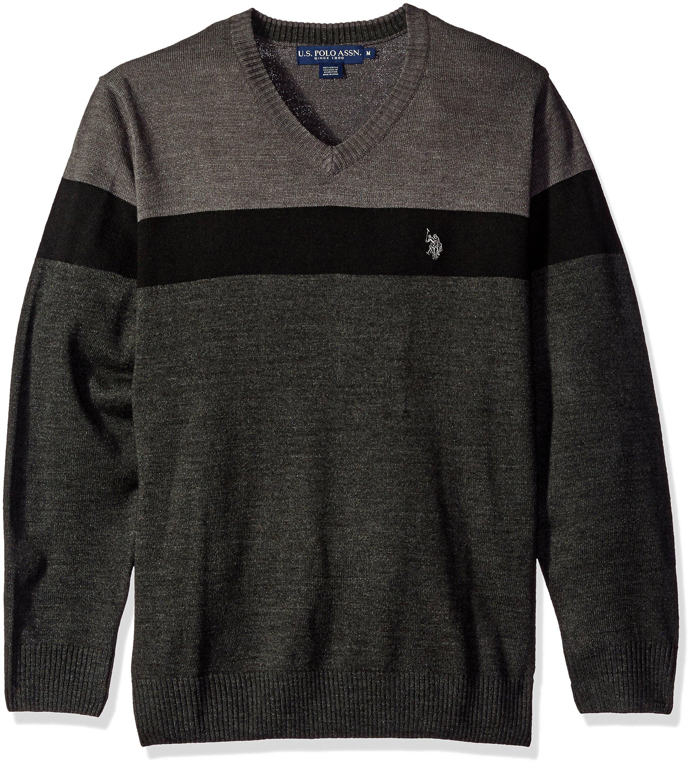 U.S. Polo Assn. Men's All Over Stripe V-Neck Sweater, Charcoal Heather, Small