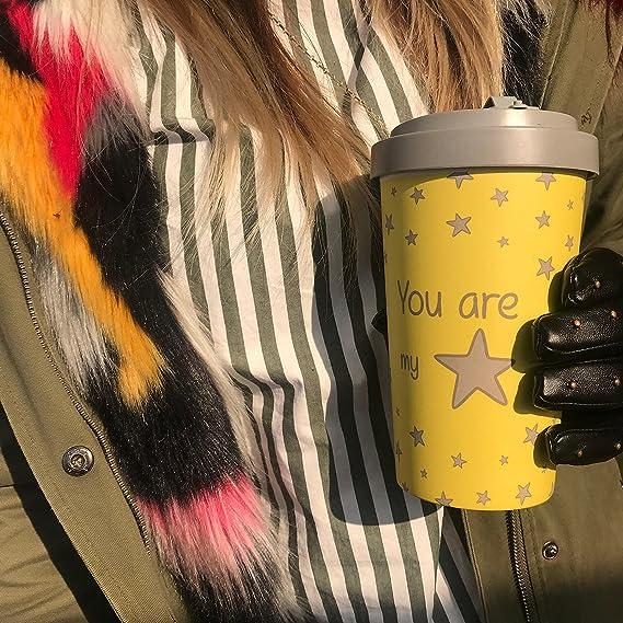 910a871665c Reusable Coffee Cup Made from Organic Natural Bamboo Fibre |  Environmentally Friendly, Biodegradable Travel Mug (Daisy Blue, 400 ml):  Amazon.co.uk: Kitchen ...